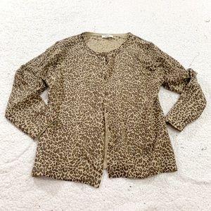 Garnet hill leopard wool cardigan sweater large